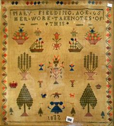 Take Notes of This * Sampler Worked Aged 65 * Spanish Sampler - Mary Fielding