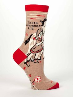 Let the other people in the room know you share their thoughts with I Hate Everyone Too Socks! This might be the closest you can get to actually telling them!