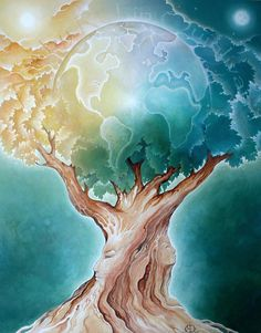 Tree - tree of life art print of painting - earth goddess eco art gaia spirit mythology surreal art Earth Tree 11 x 14 Tree of Life Art Print por RobinQuinlivanEarth Tree 11 x 14 Tree of Life Art Print por RobinQuinlivan Tree Of Life Artwork, Tree Of Life Painting, Tree Art, Sky Painting, Painted Earth, Mosaic Pictures, Inspiration Art, Cross Paintings, Tree Paintings