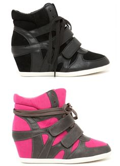 Stylish Sneakers #sneakers #wedge oh my. Pink and grey are to die for.