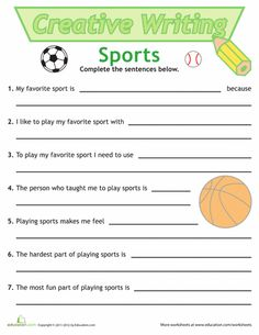 Worksheets: Sentence Writing: Sports