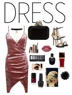 """""""DRESS"""" by fashionfreakout18 ❤ liked on Polyvore featuring Giuseppe Zanotti, Jimmy Choo, Kate Spade, Laura Mercier, Lime Crime, Alexander McQueen, Tom Ford and OPI"""