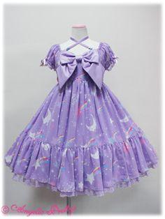 Angelic Pretty / One Piece / Dream Sky OP lavender Harajuku Fashion, Kawaii Fashion, Lolita Fashion, Cute Fashion, Kawaii Dress, Kawaii Clothes, Visual Kei, Japanese Fashion, Asian Fashion