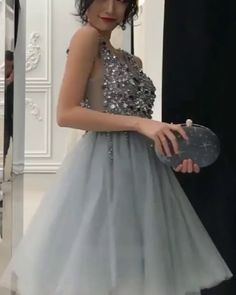 Sparkling Silver Homecoming Dress with Sequins, Knee Length Graduation Dress 2020 # Long Prom Dresses Uk, Best Formal Dresses, Prom Dresses Two Piece, Sweet 16 Dresses, Sweet Dress, Homecoming Dresses, Short Dresses, Tulle Ball Gown, Ball Gowns