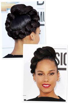 Alicia Keys Giant Braid Updo 2 Alicia Keys Style Makeup Lips Eyes updo hair beauty bbloggers braids