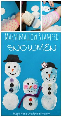 15 Easy Winter Snowman Crafts For Kids Use jumbo marshmallows to make these adorable Christmas and winter crafts - paint stamp to make a snowman, gingerbread man, or a Rudolph the red nosed reindeer. Arts and crafts for kids Arts And Crafts For Adults, Arts And Crafts House, Easy Arts And Crafts, Winter Crafts For Kids, Crafts For Kids To Make, Crafts For Girls, Winter Fun, Kids Crafts, Preschool Winter