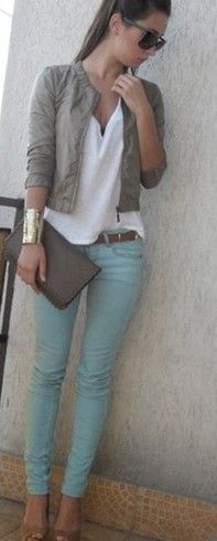 Love this shade of blue/light turquoise jeans!!! Add the neutral blazer for work
