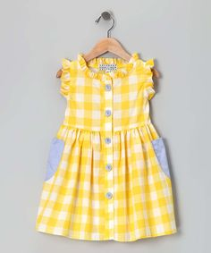 Yellow Checkerboard Picnic Dress (CINO coraline with full front placket, add pockets?) This is like some of he dresses my mother use to make for me when I was small. Frocks For Girls, Kids Frocks, Little Dresses, Little Girl Dresses, Dresses Dresses, Dresses Online, Blue Dresses, Toddler Dress, Toddler Outfits