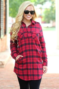 Flannel Tunic: Red/Black