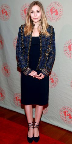Love Elizabeth Olsen and her Chanel jacket and The Row LBD!