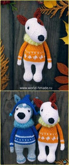 Crochet Amigurumi Bull Terrier Robin Dog Free Pattern - Amigurumi Puppy Dog Stuffed Toy Patterns