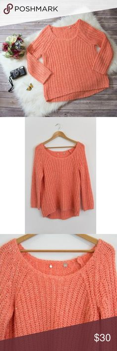 "Anthropologie Knitted & Knotted Sunstitch Sweater For the warm of heart who put the cool in cozy, Knitted & Knotted's wide- knit orange pullover is complete with shimmery sequins.  Size: L  Brand: Knitted & Knotted from Antrhopologie  Material: Acrylic, polyester, nylon  Condition: Great!  ~Measurements~  (Taken while laying flat)  Length: 27""  Chest: (underarm to underarm) 27""  Tags: #anthropologie #knittedandknotted #sparkle #sequin #sequins #orange #tangerine #cute #kawaii #warm #cozy…"