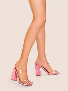 To find out about the Clear Strap Croc Embossed Chunky Heels at SHEIN, part of our latest Pumps ready to shop online today! Pointed Toe Flats, Open Toe Sandals, Pink Heels, Stiletto Heels, Transparent Heels, Court Heels, Clear Heels, Ankle Strap Wedges, Chunky Heels