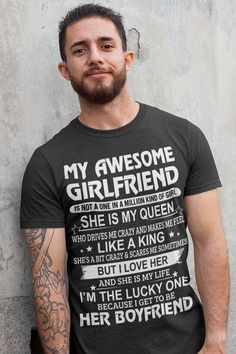 Are you looking for shirt gifts for boyfriend or love boyfriend gifts shirts? You are in right place. Your will get the best cool #boyfriend #gifts or boyfriend outfit in here. We have awesome boyfriend shirts hilarious with 100% satisfaction guarantee. Best Girlfriend Ever, Crazy Girlfriend, Amazing Girlfriend, Love Boyfriend, Boyfriend Shirt, Boyfriend Gifts, Christmas Gifts For Boyfriend, Girlfriends, Hilarious