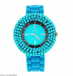 Bobby Schandra Blue Crystal Encrusted Jelly Watch - $49.95