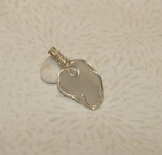 White Beach Glass Pendant, Wire Wrapped, Sterling Silver, Wire Woven, Ocean Tumbled, White Sea Glass Heart, Leaf by WiredByTara on Etsy