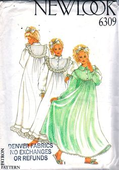 New Look 6309 Misses Victorian Nightgown Pattern Tucked Yoke Stand Up Collar Womens Vintage Sewing Pattern Size 8 - 18 Bust 31 - 40 UNCUT Vintage Dress Patterns, Clothing Patterns, Vintage Dresses, Vintage Outfits, Vintage Fashion, Classic Lingerie, Vintage Lingerie, One Piece Swimsuit Trendy, Flannel Nightgown