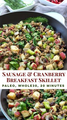 Egg Free Sausage Breakfast Skillet with Cranberries - Whole Kitchen Sink - Paleo Recipes Breakfast Skillet, Whole 30 Breakfast, Sausage Breakfast, Free Breakfast, Breakfast Buffet, Breakfast Burritos, Perfect Breakfast, Eat Breakfast, Healthy Breakfast Recipes