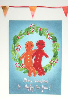Gingerbread Christmas card, by illustrator Ellen Lambrichts on Etsy
