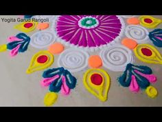Beautiful rangoli design with colours l muggulu kolam rangoli l रंगोली ड. Simple Rangoli Kolam, Easy Diwali Rangoli, New Year Rangoli, Diya Rangoli, Rangoli Borders, Rangoli Border Designs, Rangoli Ideas, Diwali Diy, Rangoli Designs Diwali