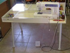 Sewing Machine Tables IKEA | ve got a new, custom-made, table for my sewing machine. My husband's ...