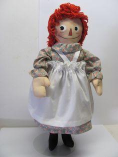 """Raggedy Ann 21"""" Molly-'es. Handmade by Joan Oest . #HandmadeRaggedyAnnMollyes #FabricDoll"""