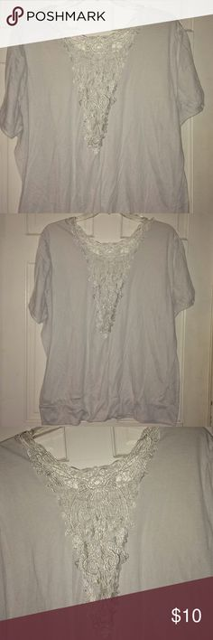 Cato white banded blouse w/ lace detail on back Cato white banded blouse w/ lace detail on back. Placed darker material under the lace in a couple pictures to show detail. Lace insert comes down low in the back. Has wide banded waist. Has been worn but still in good condition. No stains or holes. Cato Tops Blouses