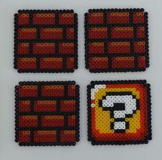 Lot de 4 dessous de verre Mario Brick Retro Geek en Perles Hama
