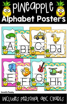 Are you looking for ideas for bright FUN tropical pineapple Theme Classroom Decor? This adorable Alphabet Chart classroom decoration set includes personal one page ABC charts for students as well! Printable Classroom Posters, Classroom Decor Themes, Classroom Ideas, Alphabet Charts, Alphabet Posters, Abc Chart, School Pictures, Teaching Activities, School Classroom