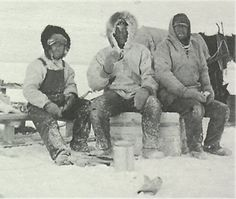 From left to right: Cliff Kemp, John Hoehn and Joe Single, 1934.<BR>Lunch on the ice.