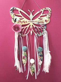 A personal favourite from my Etsy shop https://www.etsy.com/listing/526004077/personalized-butterfly-dreamcatcher-made