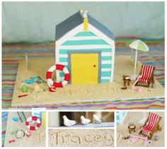 beach theme birthday cake - bathing box (beach hut) and gumpaste towels, buckets, spade, sand, life saver, deck chair, table, walking stick, can of drink, umbrella, table, book, thongs & glasses