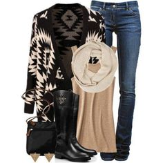 Gorgeous Fall Winter Clothes Boots Black White Creme Tans Neutrals Outfit Cute Cozy Comfy Weekends