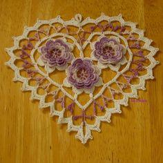 Irish Crochet Heart...Love the touches of Lavender!