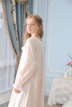 24e785f004 Princessy Heart 100% Cotton Lace Quality Royal Vintage Night Gown Spri –  Prinsty Pajama Day