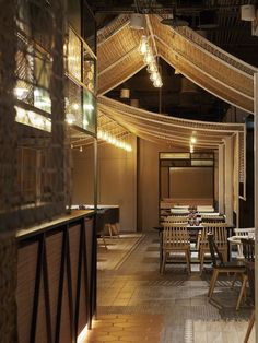 This project is a Thai food restaurant, with the site is very long and narrow. Thai Restaurant, Restaurant Concept, Restaurant Interior Design, Cafe Interior, Thai Cafe, Cafe Concept, Asian Restaurants, Japan Design, Modern Shop