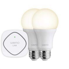 Belkin WeMo LED Lighting Starter Set: Two WeMo Smart Light Bulbs and WeMo Link to Control Multiple WeMo Bulbs from Anywhere, Wi-Fi Enabled ok so what will they come up with next JS Be Light, Light Bulb, Light Switches, Wifi, Smartphone, Lumiere Led, Smart Home Technology, Led Light Kits, Shops