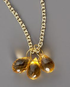 -2TWY Heather Moore Citrine Teardrop & Gold Chain Necklace
