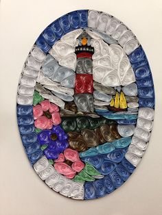 Quilled quilling lighthouse paper art stained by jgaCreations