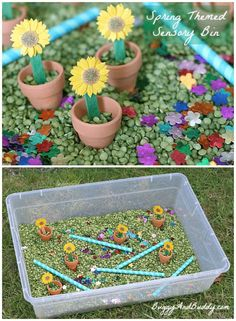 Spring Themed Sensory Bin -- great for late-stage Alzheimer& participants. What about conversations about favorite seasons and Spring memories? I think IG pairs could make the box and then reflect on it. The boxes/bins can be kept for multiple use. Sensory Tubs, Sensory Boxes, Sensory Activities, Sensory Play, Preschool Activities, Dementia Activities, Sensory Diet, Outdoor Activities, Preschool Crafts