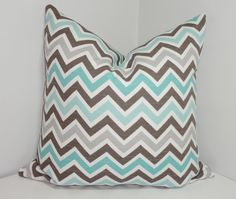 Decorative Pillow Cover Brown Blue Grey White Zig by HomeLiving, $16.00