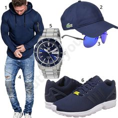 Blaues Herrenoutfit mit Hoodie, Cap, Jeans und Pilotenbrille #hoodie #cap #adidas #seiko #jeans #outfit #style #fashion #ootd #herrenmode #männermode #outfit #style #fashion #menswear #mensfashion #inspiration #menstyle #inspiration
