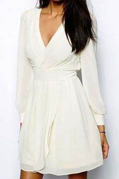 White V Neck Long Sleeve Chiffon Dress