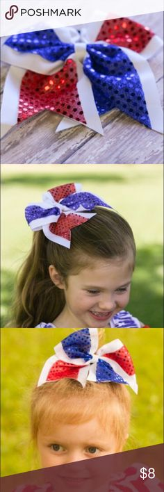 "‼️July 4th Sequin cheer bow Red, white, blue sequin cheer bow each Bow has a wrapped elastic tie And measures approximately 6""x6"" beautiful hand made Accessories Hair Accessories"