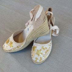 Fun with espadrilles! Gold sequined espadrilles, 3 1/2 inch wedge heels. Nwt Shoes Espadrilles