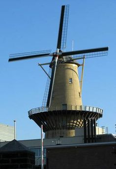 Electricity producing windmill, De Nolet distillery in Schiedam, Holland