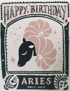 """""""Happy Birthday Aries"""" Zodiac Card"""