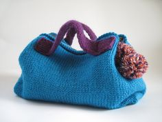 "09-10 AW KNIT BAG ""Pon Pon"" Turquoise 