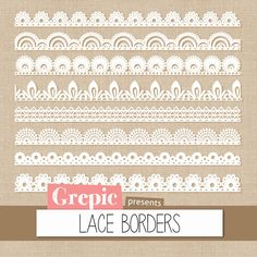 "Lace border clip art: ""LACE BORDERS"" clipart pack with digital lace border images for scrapbooking, card making, invites"