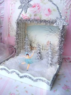 Christmas DIY: Sweet Tiny Skater Wi Sweet Tiny Skater Winter Aqua Shadow Box by sweetnshabbyroses Shabby Chic Christmas, Pink Christmas, All Things Christmas, Vintage Christmas, Christmas Holidays, Christmas Decorations, Christmas Ornaments, Christmas Projects, Holiday Crafts